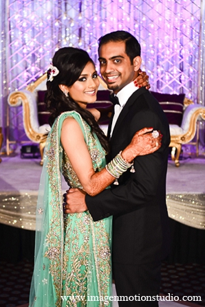 Indian wedding reception portraits light green lengha in Houston, Texas Indian Wedding by Image N Motion Studio