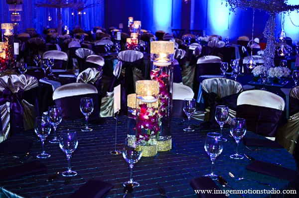 Indian wedding reception violet purple decor in Houston, Texas Indian Wedding by Image N Motion Studio