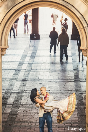 Indian wedding engagement dancing bride groom in Sunday Sweetheart Winners ~ Gayatri & Sumeet by Imagique