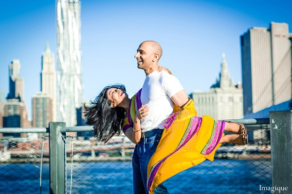 Indian wedding engagement portraits outdoor yellow sari in Sunday Sweetheart Winners ~ Gayatri & Sumeet by Imagique