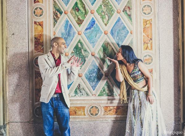 Indian wedding engagement session bride groom glass window in Sunday Sweetheart Winners ~ Gayatri & Sumeet by Imagique