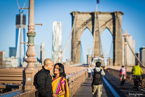 Indian wedding engagement session bridge yellow sari in Sunday Sweetheart Winners ~ Gayatri & Sumeet by Imagique