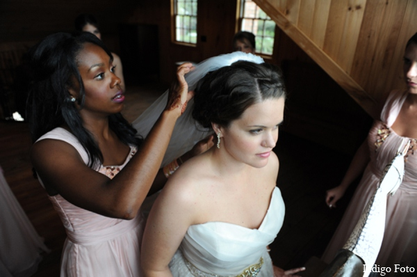 Bridal hair makeup in Orient Point, New York Indian Fusion Wedding by Indigo Foto