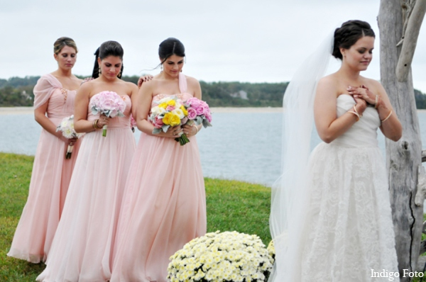 Bridesmaids dresses light pink in Orient Point, New York Indian Fusion Wedding by Indigo Foto