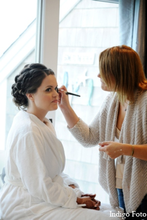 Hair makeup bride in Orient Point, New York Indian Fusion Wedding by Indigo Foto