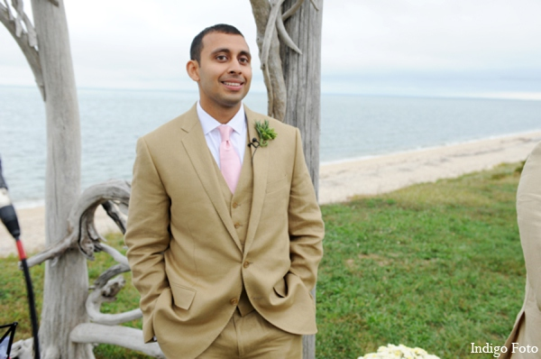 Outdoor wedding tuxedo in Orient Point, New York Indian Fusion Wedding by Indigo Foto