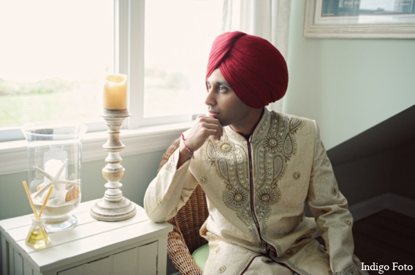 Sikh wedding groom outfit in Orient Point, New York Indian Fusion Wedding by Indigo Foto