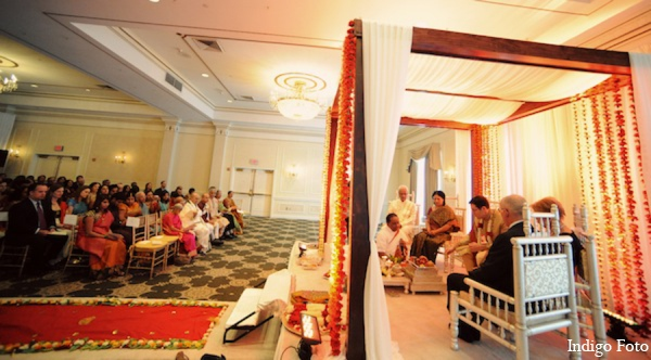 Indian wedding mandap decor in Pearl River, NY Indian Fusion Wedding by Indigo Foto