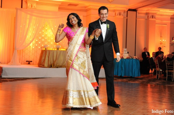 Indian wedding reception lehenga in Pearl River, NY Indian Fusion Wedding by Indigo Foto