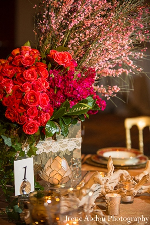 Floral decor indian wedding table in Wedding Decor Inspiration Shoot by Irene Abdou Photography