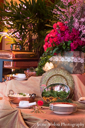 Indian wedding buffet setting decor in Wedding Decor Inspiration Shoot by Irene Abdou Photography