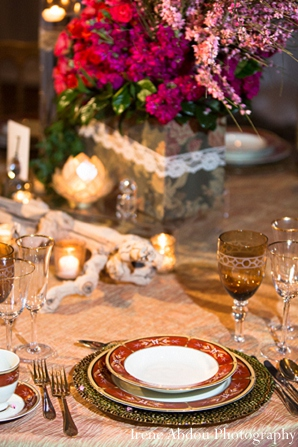Indian wedding decor table setting in Wedding Decor Inspiration Shoot by Irene Abdou Photography