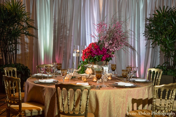 Indian wedding floral table arrangement table in Wedding Decor Inspiration Shoot by Irene Abdou Photography