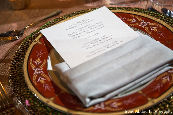 Menu indian wedding reception table setting in Wedding Decor Inspiration Shoot by Irene Abdou Photography