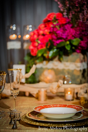 Indian wedding table arrangement decor in Wedding Decor Inspiration Shoot by Irene Abdou Photography