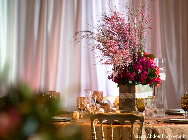 Indian wedding table decor floral in Wedding Decor Inspiration Shoot by Irene Abdou Photography