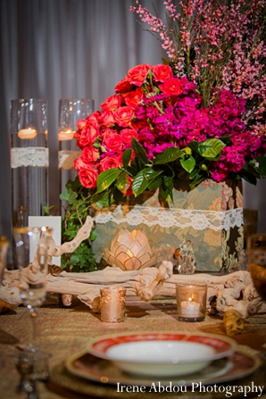 Indian wedding table floral decor in Wedding Decor Inspiration Shoot by Irene Abdou Photography
