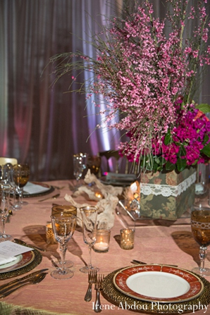 Indian wedding table setting decor in Wedding Decor Inspiration Shoot by Irene Abdou Photography
