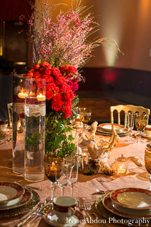 Wedding table floral decor indian reception in Wedding Decor Inspiration Shoot by Irene Abdou Photography
