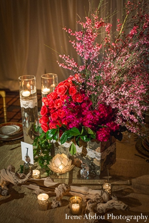 Wedding table floral decor indian in Wedding Decor Inspiration Shoot by Irene Abdou Photography