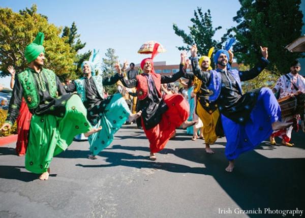Indian wedding baraat street dancing