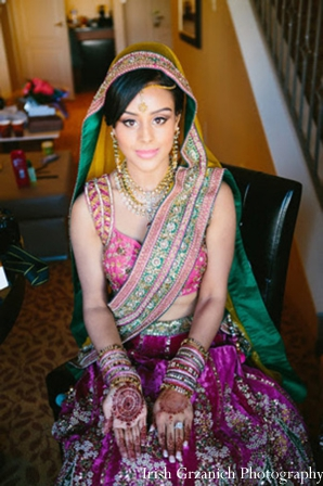 Indian wedding bridal maharani portrait getting ready