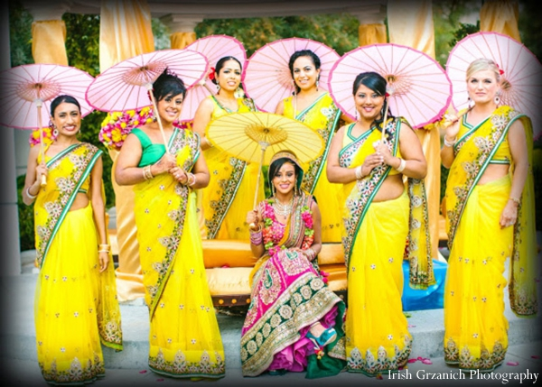 Indian wedding bridal portrait parasols saris