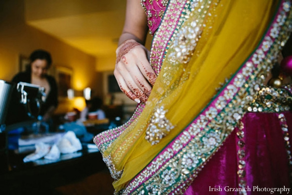 Indian wedding bride detail lengha colorful