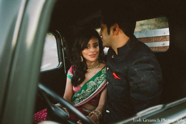 Indian wedding bride groom portrait sangeet