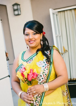 Indian wedding bridesmaid yellow sari