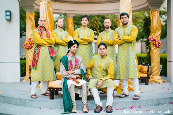 Indian wedding portrait groom groomsmen ceremony