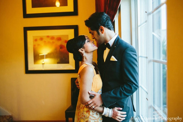 Indian wedding reception bride groom portrait