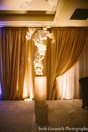 Indian wedding reception floral decor lighting