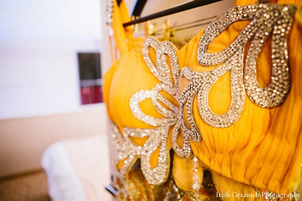 Indian wedding reception lengha bright yellow