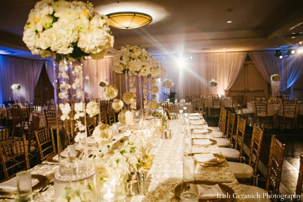 Indian wedding reception table setting reception decor