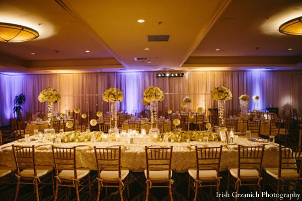 Indian wedding reception venue table setting lighting