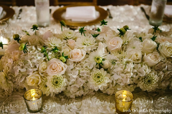 Indian wedding table floral decor reception