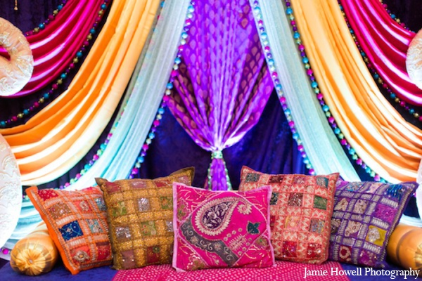 Mehndi party decor ideas in Atlanta, Georgia Indian Wedding by Jamie Howell Photography