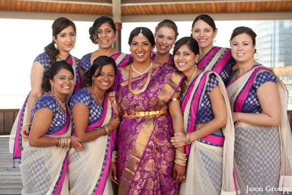 Indian wedding bridal party lengha saris in Exquisite Indian Wedding by Jason Groupp Photography, Jersey City, New Jersey