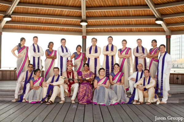 Indian wedding party portrait traditional dress in Exquisite Indian Wedding by Jason Groupp Photography, Jersey City, New Jersey