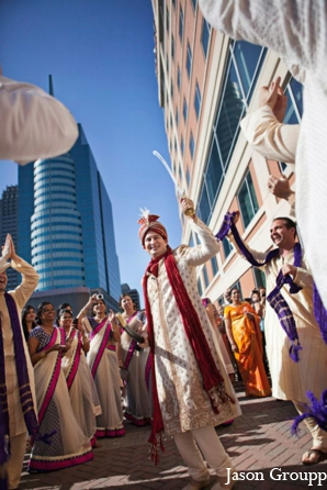 Indian wedding baraat celebration street in Exquisite Indian Wedding by Jason Groupp Photography, Jersey City, New Jersey