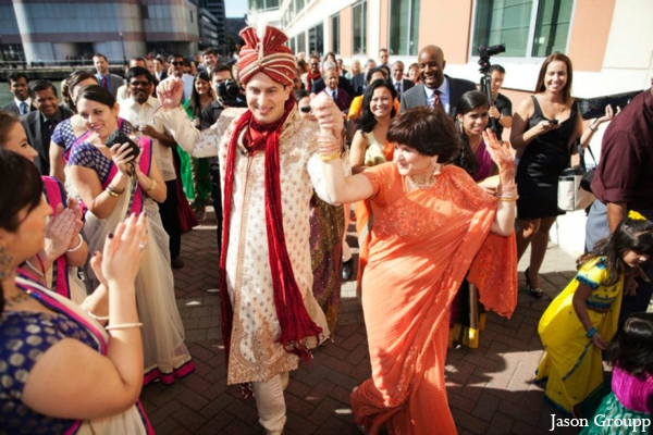 Indian wedding baraat groom celebration street dancing in Exquisite Indian Wedding by Jason Groupp Photography, Jersey City, New Jersey