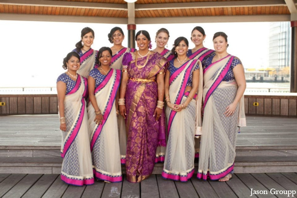 indian wedding bridal party portraits lenghas