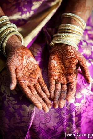 Indian wedding bridal portrait henna mehndi in Exquisite Indian Wedding by Jason Groupp Photography, Jersey City, New Jersey