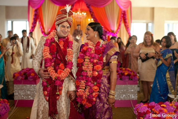 Indian wedding bride groom ceremony jai malas floral in Exquisite Indian Wedding by Jason Groupp Photography, Jersey City, New Jersey