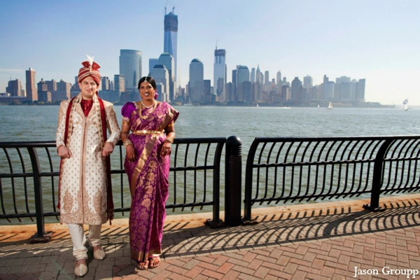 Indian wedding bride groom couples portrait in Exquisite Indian Wedding by Jason Groupp Photography, Jersey City, New Jersey
