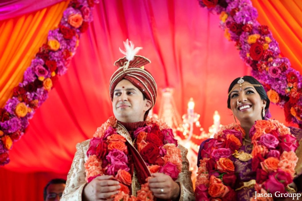 Indian wedding bride groom mandap jai mala florals in Exquisite Indian Wedding by Jason Groupp Photography, Jersey City, New Jersey
