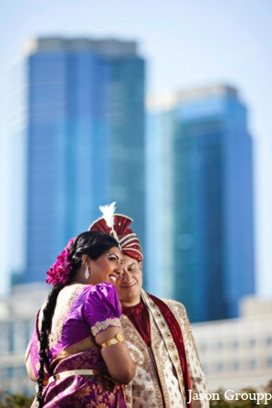 Indian wedding bride groom portrait in Exquisite Indian Wedding by Jason Groupp Photography, Jersey City, New Jersey