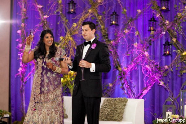 Indian wedding bride groom reception decor in Exquisite Indian Wedding by Jason Groupp Photography, Jersey City, New Jersey