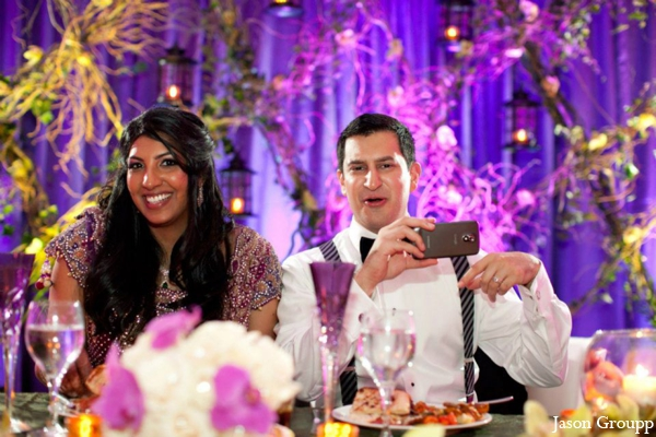 Indian wedding bride groom reception lighting in Exquisite Indian Wedding by Jason Groupp Photography, Jersey City, New Jersey